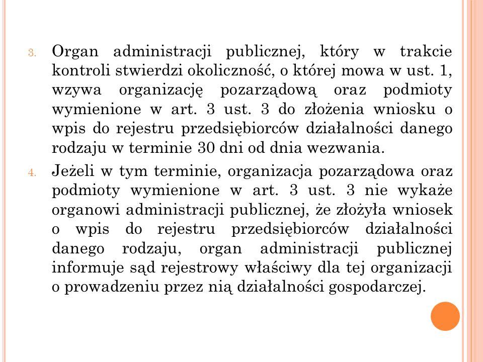 3. Organ administracji publicznej, który w trakcie kontroli stwierdzi okoliczność, o której mowa w ust. 1, wzywa organizację pozarządową oraz podmioty
