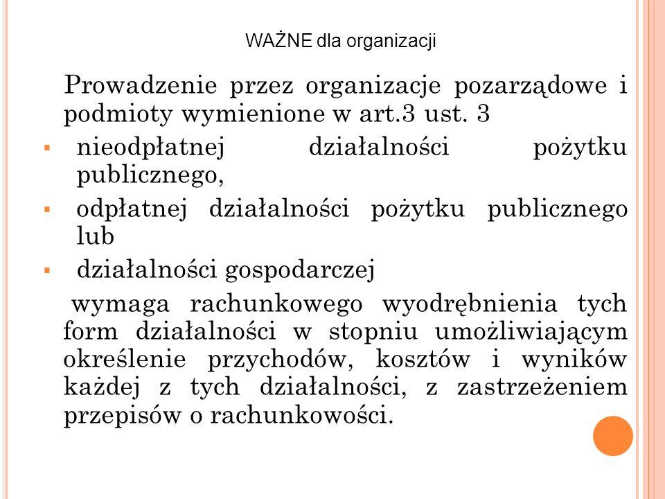 Prowadzenie przez organizacje pozarządowe i podmioty wymienione w art.3 ust. 3 nieodpłatnej działalności pożytku publicznego, odpłatnej działalności p