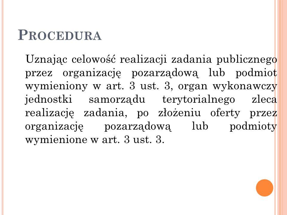P ROCEDURA Uznając celowość realizacji zadania publicznego przez organizację pozarządową lub podmiot wymieniony w art. 3 ust. 3, organ wykonawczy jedn