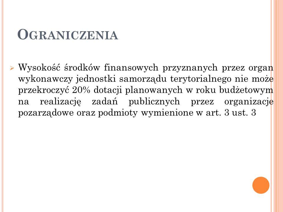 O GRANICZENIA Wysokość środków finansowych przyznanych przez organ wykonawczy jednostki samorządu terytorialnego nie może przekroczyć 20% dotacji plan