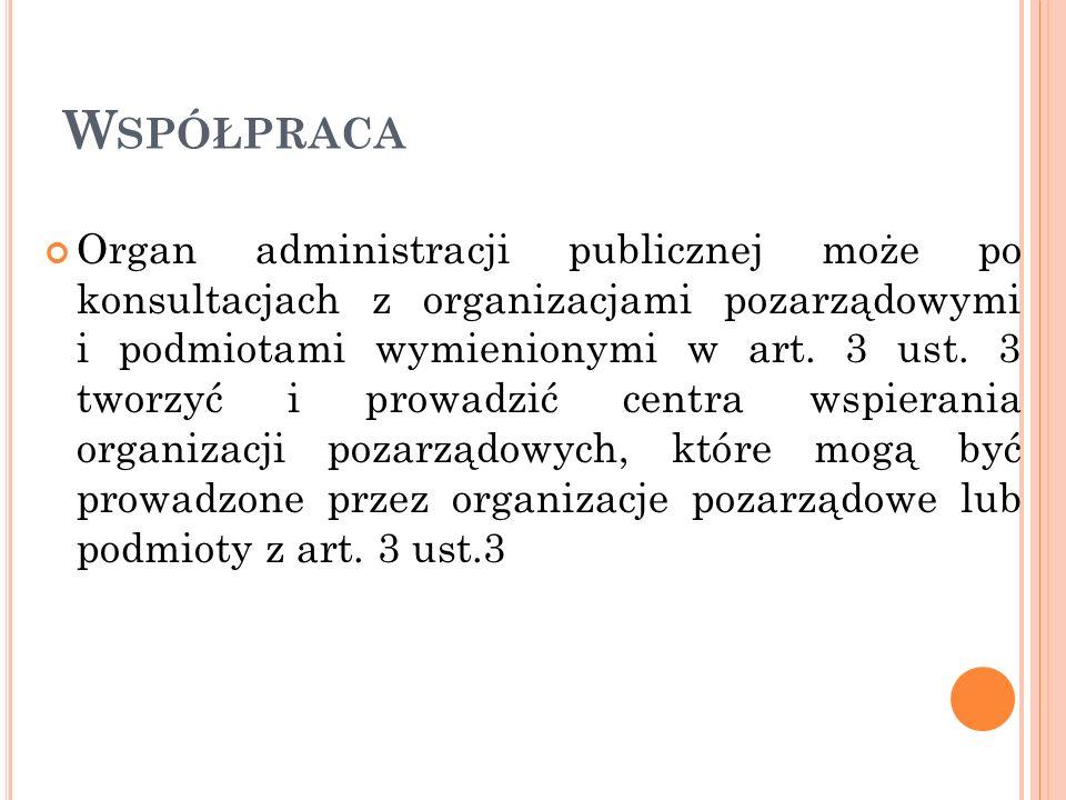 W SPÓŁPRACA Organ administracji publicznej może po konsultacjach z organizacjami pozarządowymi i podmiotami wymienionymi w art. 3 ust. 3 tworzyć i pro