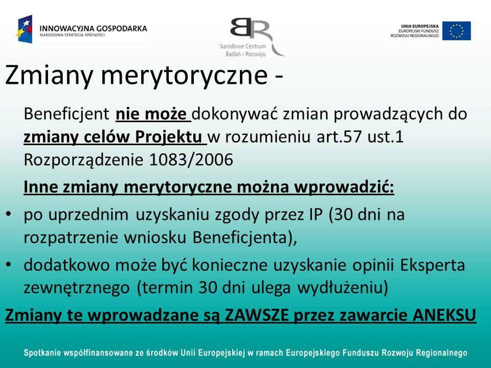 Zmiany merytoryczne - Beneficjent nie może dokonywać zmian prowadzących do zmiany celów Projektu w rozumieniu art.57 ust.1 Rozporządzenie 1083/2006 In