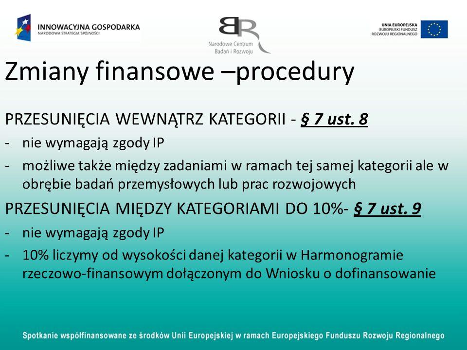Zmiany finansowe –procedury PRZESUNIĘCIA WEWNĄTRZ KATEGORII - § 7 ust. 8 -nie wymagają zgody IP -możliwe także między zadaniami w ramach tej samej kat