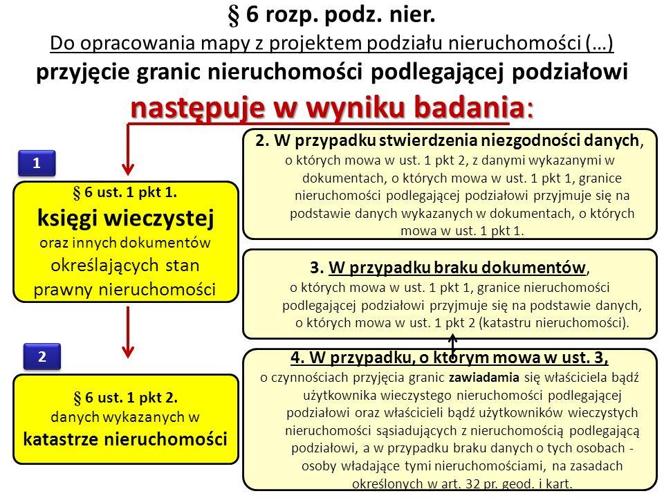 § 6 rozp. podz. nier. Do opracowania mapy z projektem podziału nieruchomości (…) przyjęcie granic nieruchomości podlegającej podziałowi następuje w wy