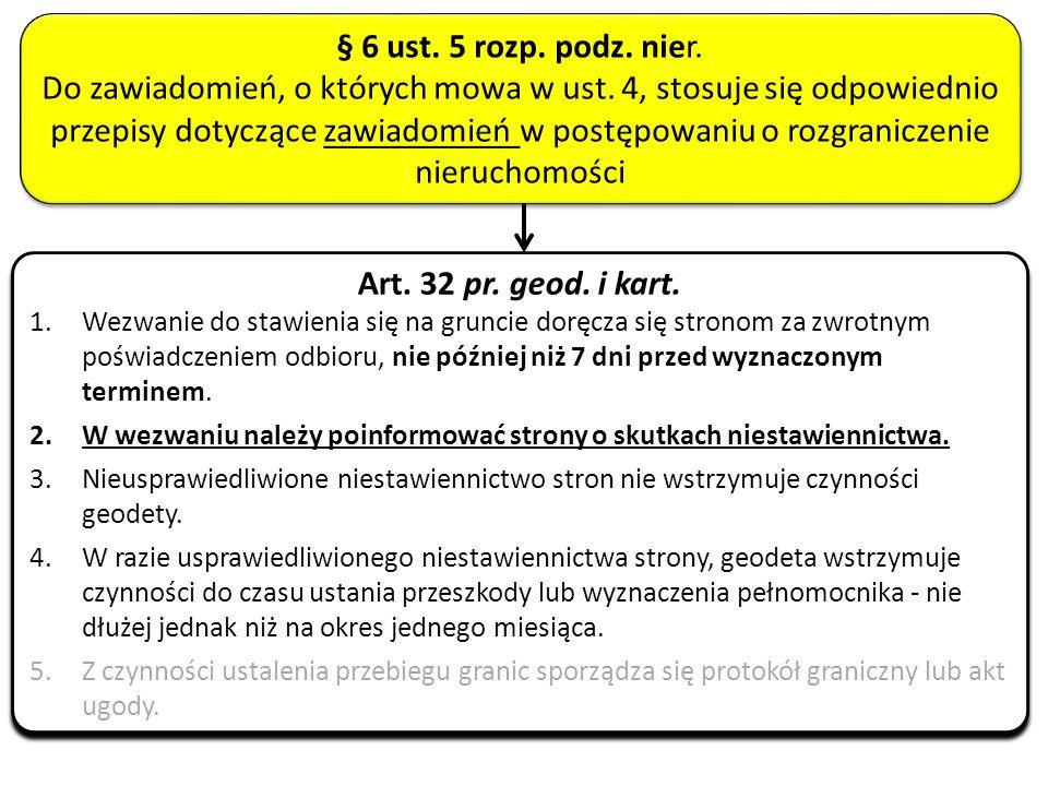 Art. 32 pr. geod. i kart. 1.Wezwanie do stawienia się na gruncie doręcza się stronom za zwrotnym poświadczeniem odbioru, nie później niż 7 dni przed w