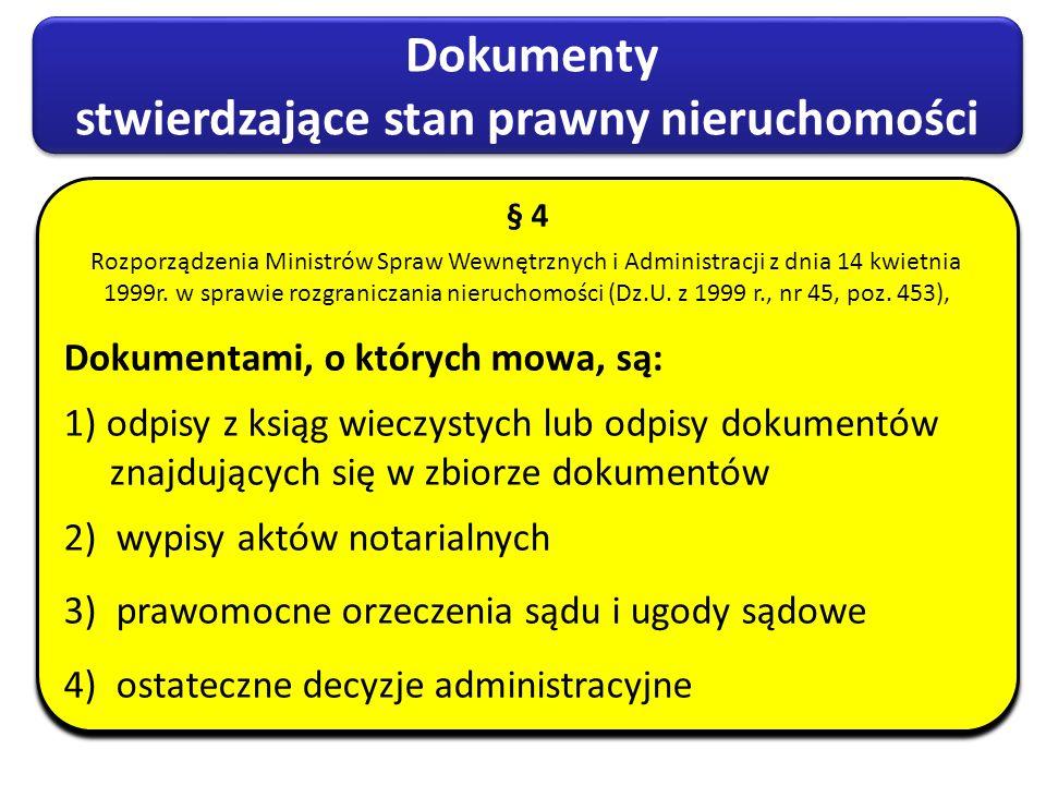 Dokumenty stwierdzające stan prawny nieruchomości Dokumenty stwierdzające stan prawny nieruchomości § 4 Rozporządzenia Ministrów Spraw Wewnętrznych i