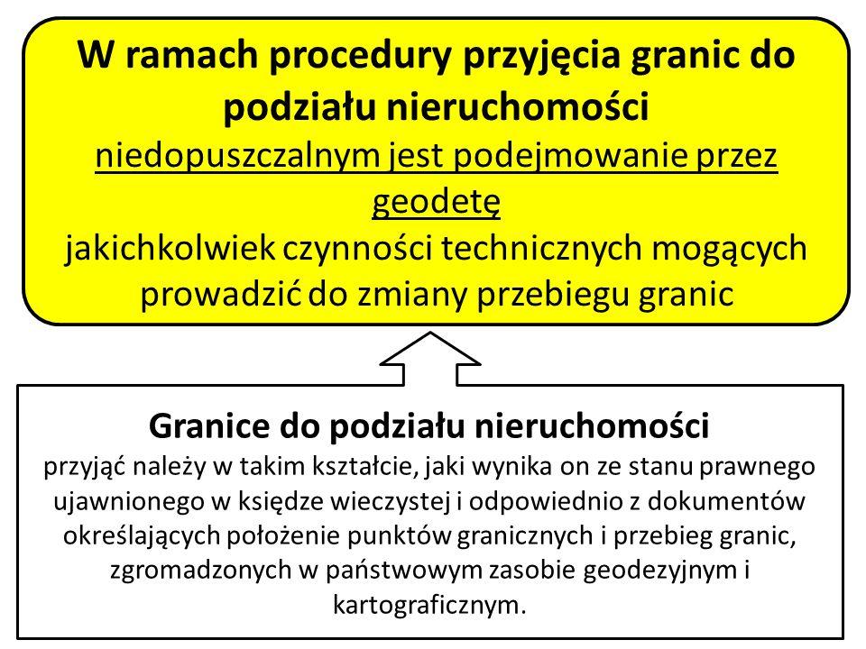 20 W ramach procedury przyjęcia granic do podziału nieruchomości niedopuszczalnym jest podejmowanie przez geodetę jakichkolwiek czynności technicznych