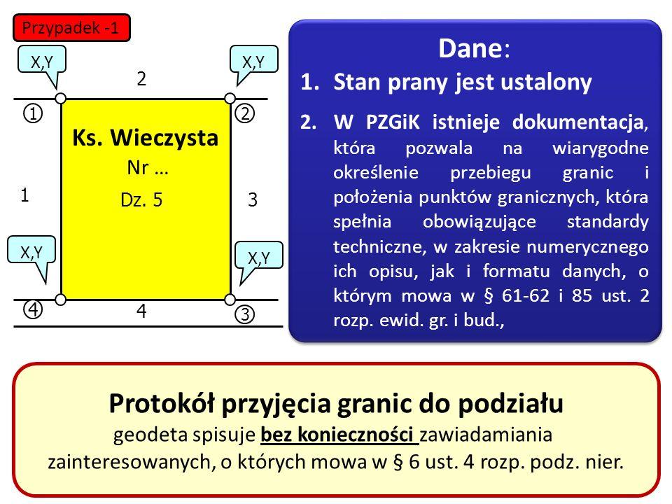 31 12 3 4 X,Y 1 2 3 4 Dz. 5 Protokół przyjęcia granic do podziału geodeta spisuje bez konieczności zawiadamiania zainteresowanych, o których mowa w §