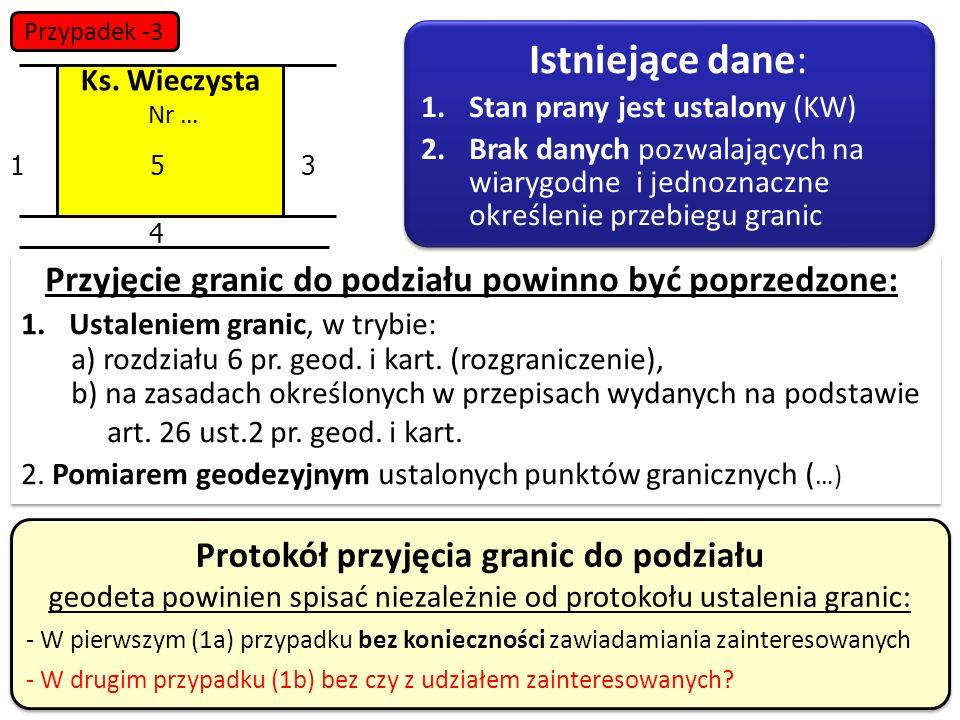 34 13 4 5 Protokół przyjęcia granic do podziału geodeta powinien spisać niezależnie od protokołu ustalenia granic: - W pierwszym (1a) przypadku bez ko