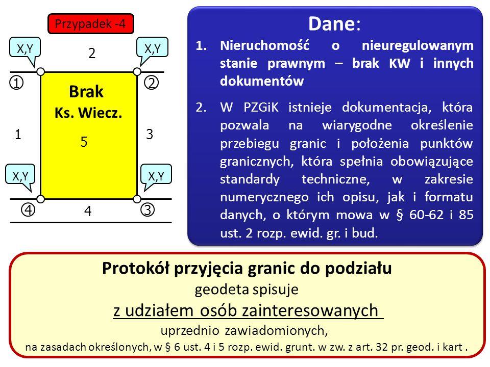35 12 34 X,Y 1 2 3 4 5 Protokół przyjęcia granic do podziału geodeta spisuje z udziałem osób zainteresowanych uprzednio zawiadomionych, na zasadach ok