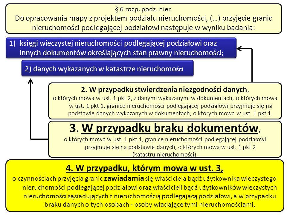 § 6 rozp. podz. nier. Do opracowania mapy z projektem podziału nieruchomości, (…) przyjęcie granic nieruchomości podlegającej podziałowi następuje w w