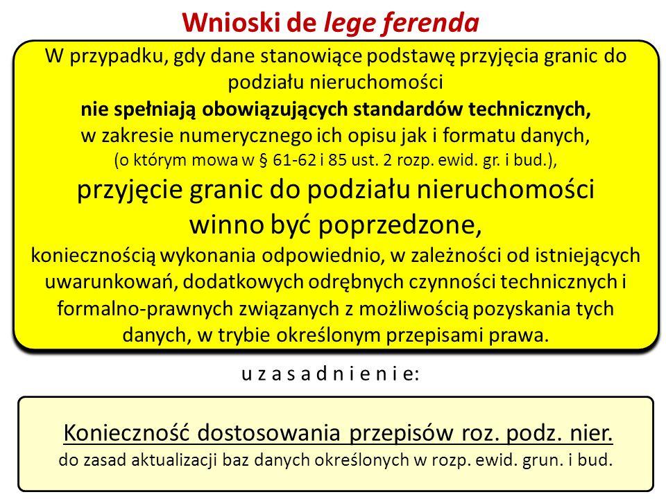 49 Wnioski de lege ferenda Konieczność dostosowania przepisów roz. podz. nier. do zasad aktualizacji baz danych określonych w rozp. ewid. grun. i bud.
