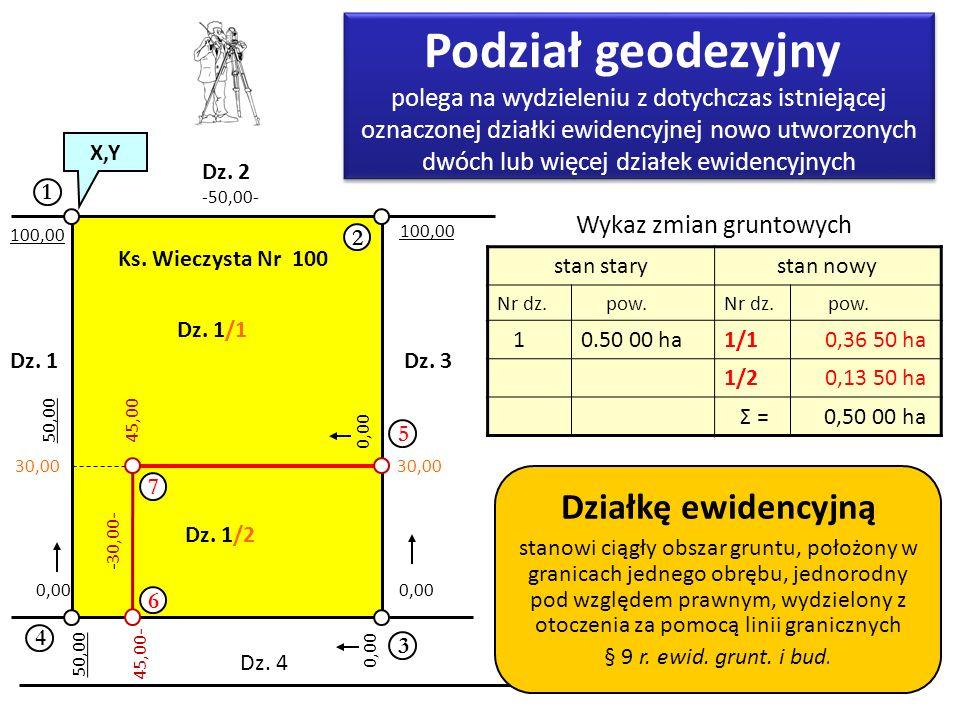 8 1 2 3 4 Dz. 1 Dz. 2 Dz. 3 Dz. 4 Dz. 1/1 Dz. 1/2 -50,00- -30,00- 100,00 0,00 100,00 30,00 Ks. Wieczysta Nr 100 Podział geodezyjny polega na wydzielen