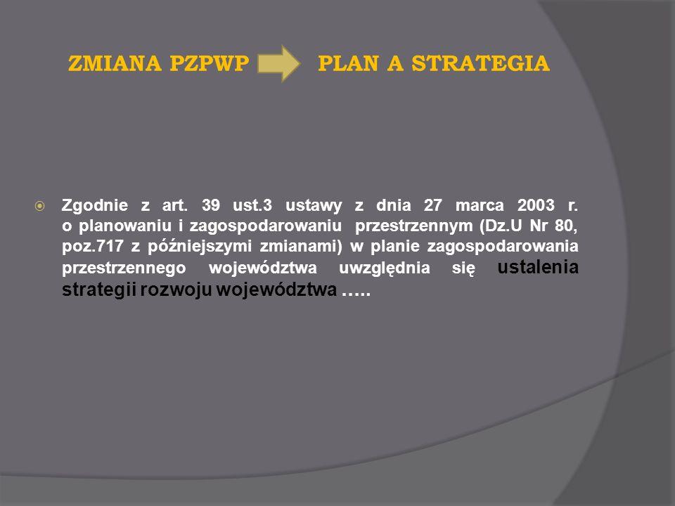 ZMIANA PZPWP PLAN A STRATEGIA Zgodnie z art. 39 ust.3 ustawy z dnia 27 marca 2003 r. o planowaniu i zagospodarowaniu przestrzennym (Dz.U Nr 80, poz.71