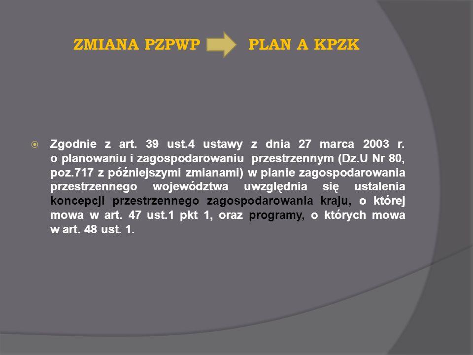 ZMIANA PZPWP PLAN A KPZK Zgodnie z art. 39 ust.4 ustawy z dnia 27 marca 2003 r. o planowaniu i zagospodarowaniu przestrzennym (Dz.U Nr 80, poz.717 z p