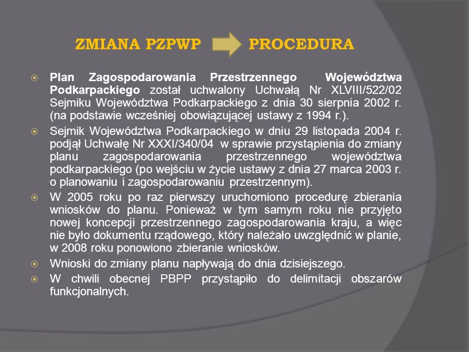 ZMIANA PZPWP PROCEDURA Plan Zagospodarowania Przestrzennego Województwa Podkarpackiego został uchwalony Uchwałą Nr XLVIII/522/02 Sejmiku Województwa P