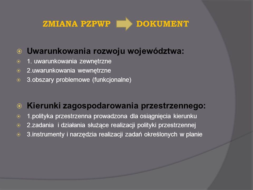 ZMIANA PZPWP DOKUMENT Uwarunkowania rozwoju województwa: 1. uwarunkowania zewnętrzne 2.uwarunkowania wewnętrzne 3.obszary problemowe (funkcjonalne) Ki