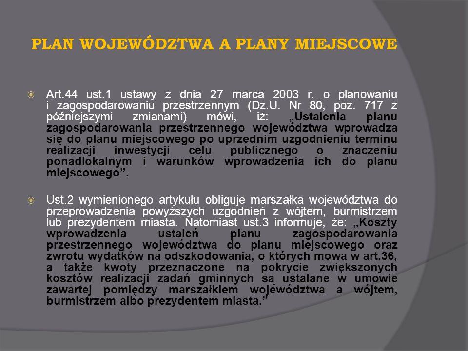 PLAN WOJEWÓDZTWA A PLANY MIEJSCOWE Art.44 ust.1 ustawy z dnia 27 marca 2003 r. o planowaniu i zagospodarowaniu przestrzennym (Dz.U. Nr 80, poz. 717 z