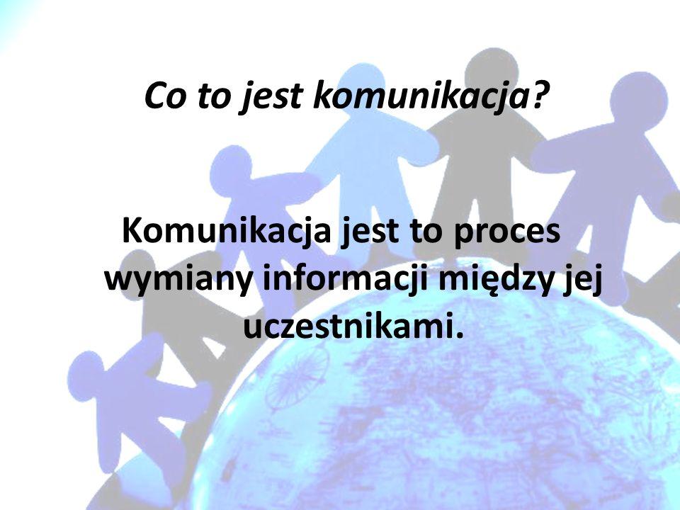 Co to jest komunikacja? Komunikacja jest to proces wymiany informacji między jej uczestnikami.
