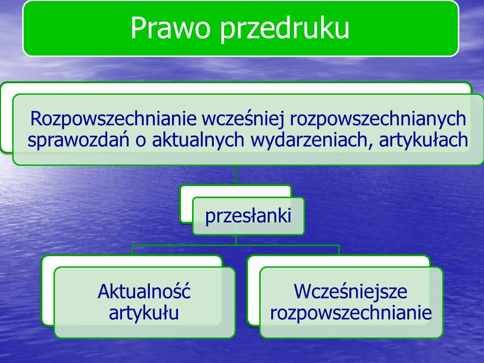 Prawo przedruku Rozpowszechnianie wcześniej rozpowszechnianych sprawozdań o aktualnych wydarzeniach, artykułach przesłanki Aktualność artykułu Wcześni