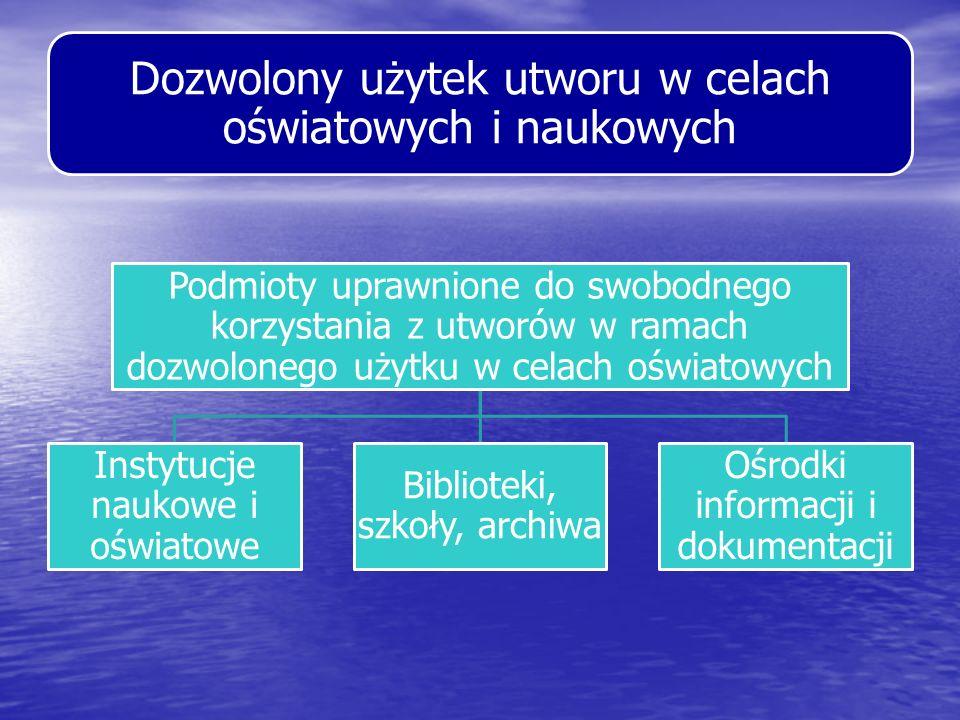 Dozwolony użytek utworu w celach oświatowych i naukowych Podmioty uprawnione do swobodnego korzystania z utworów w ramach dozwolonego użytku w celach