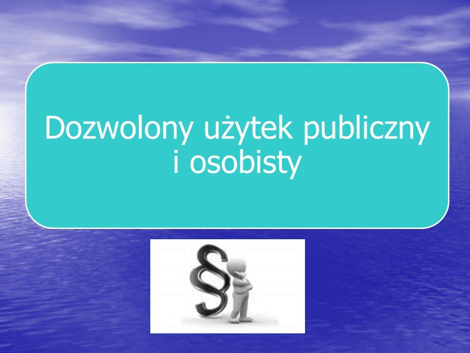 Dozwolony użytek utworu w celach oświatowych i naukowych Ośrodki informacji lub dokumentacji mogą sporządzać i rozpowszechniać własne opracowania dokumentacyjne oraz pojedyncze egzemplarze, nie większych niż jeden arkusz wydawniczy, fragmentów opublikowanych utworów.