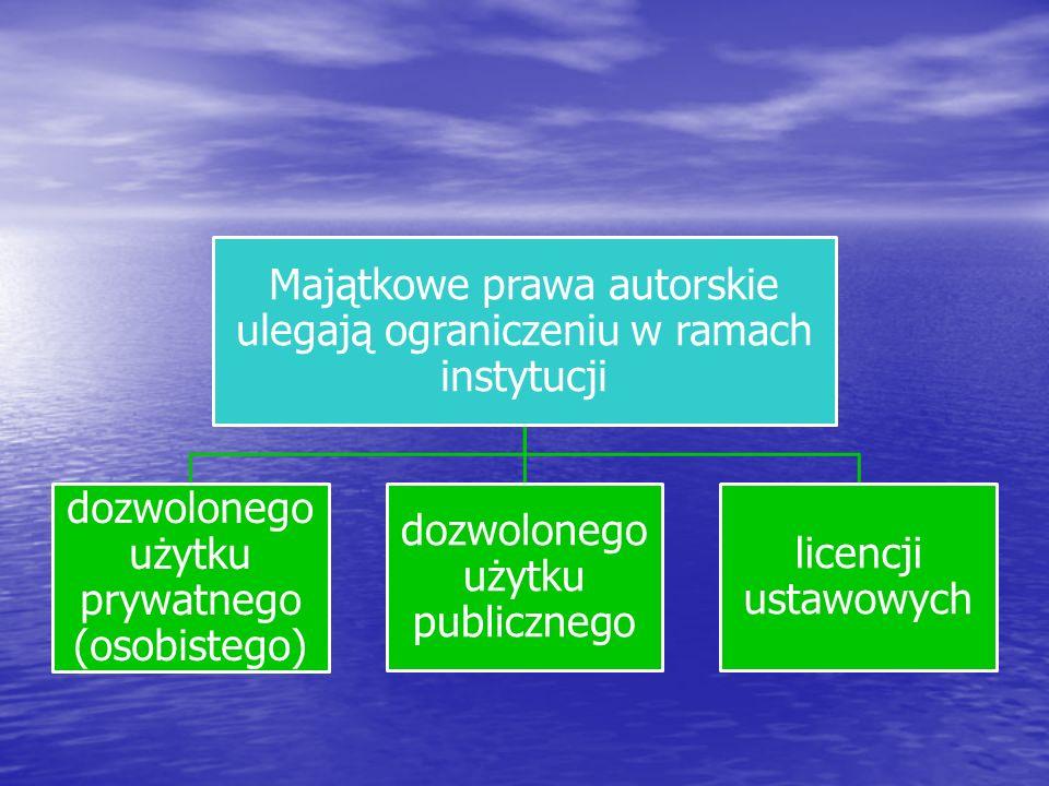 Majątkowe prawa autorskie ulegają ograniczeniu w ramach instytucji dozwolonego użytku prywatnego (osobistego) dozwolonego użytku publicznego licencji