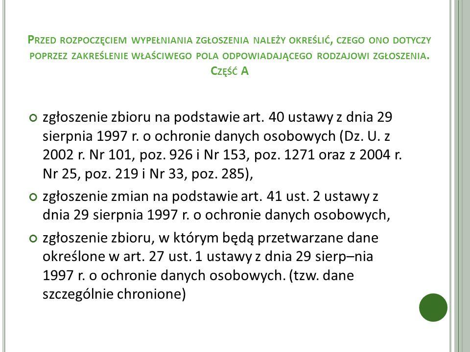 D ANE SZCZEGÓLNIE CHRONIONE art.27 ust.