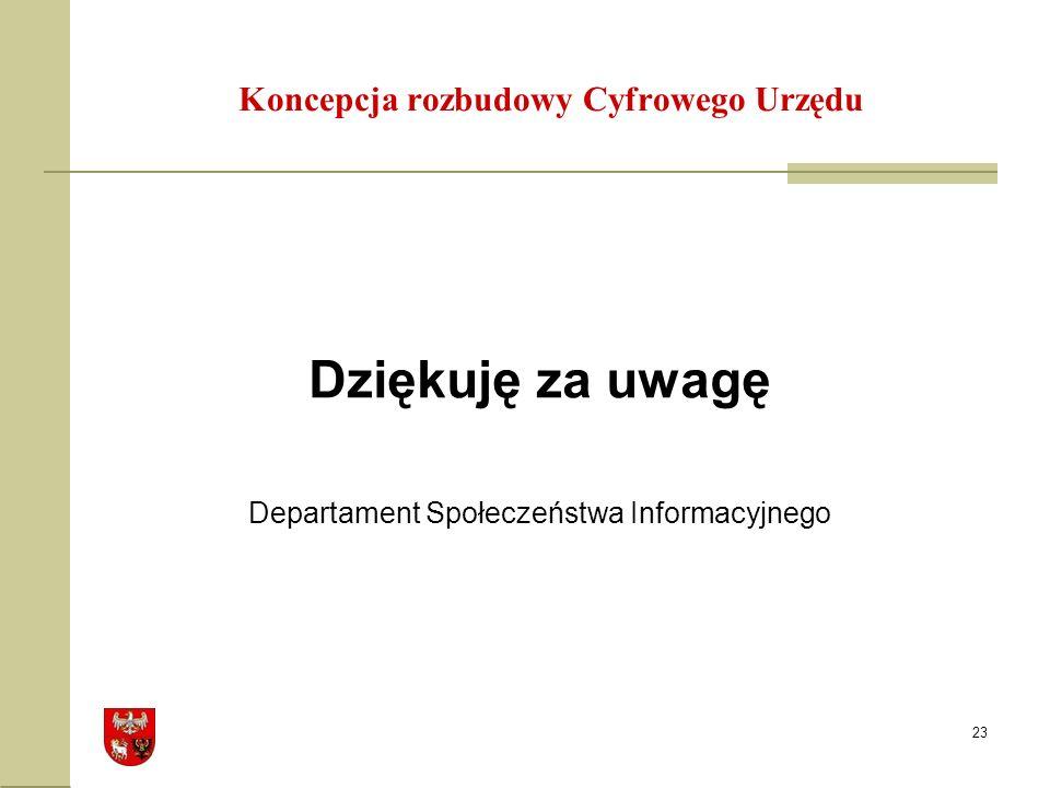 23 Dziękuję za uwagę Departament Społeczeństwa Informacyjnego Koncepcja rozbudowy Cyfrowego Urzędu