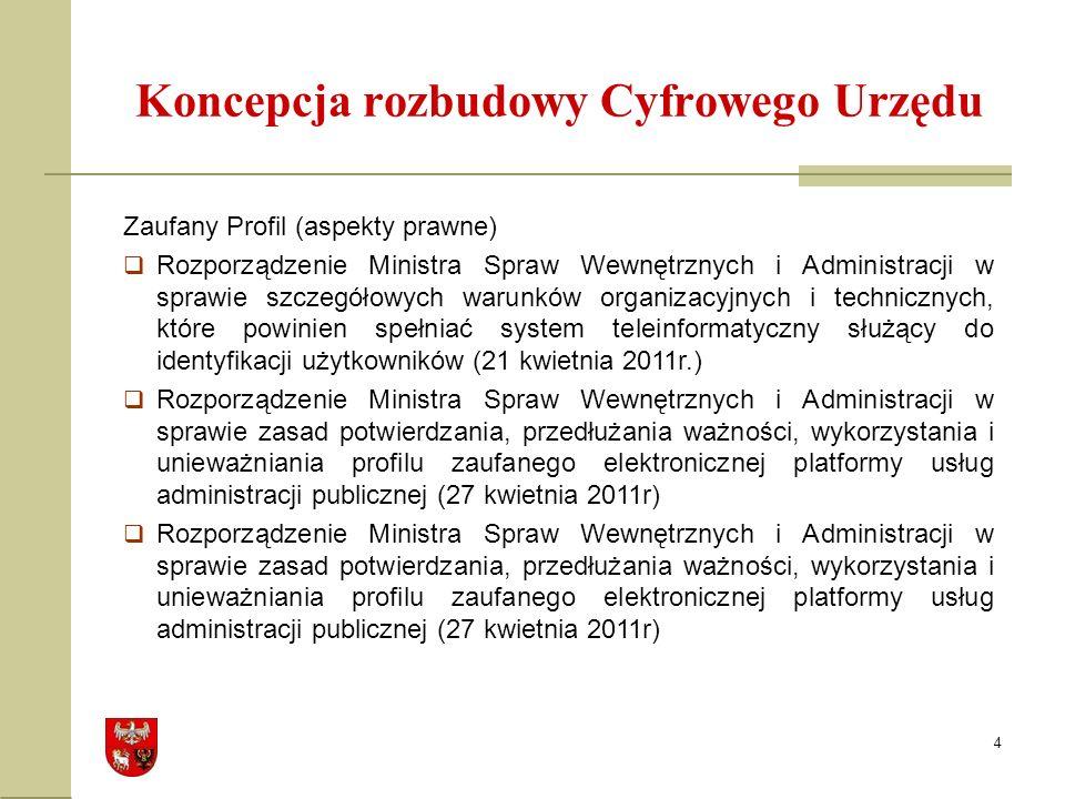 4 Koncepcja rozbudowy Cyfrowego Urzędu Zaufany Profil (aspekty prawne) Rozporządzenie Ministra Spraw Wewnętrznych i Administracji w sprawie szczegółowych warunków organizacyjnych i technicznych, które powinien spełniać system teleinformatyczny służący do identyfikacji użytkowników (21 kwietnia 2011r.) Rozporządzenie Ministra Spraw Wewnętrznych i Administracji w sprawie zasad potwierdzania, przedłużania ważności, wykorzystania i unieważniania profilu zaufanego elektronicznej platformy usług administracji publicznej (27 kwietnia 2011r)
