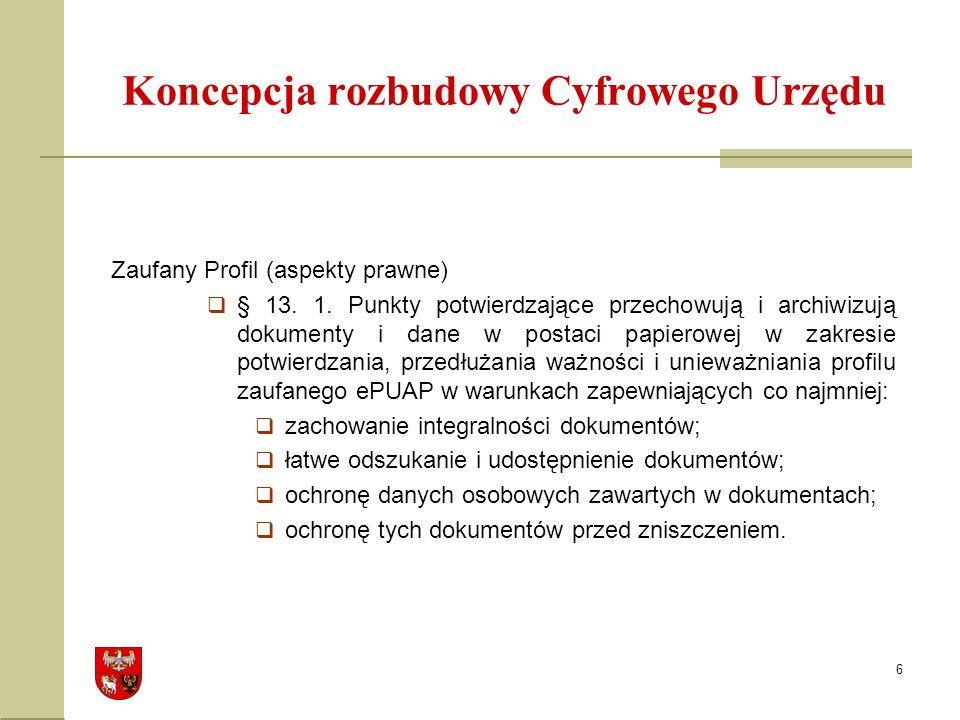 6 Koncepcja rozbudowy Cyfrowego Urzędu Zaufany Profil (aspekty prawne) § 13.