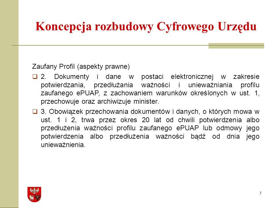 7 Koncepcja rozbudowy Cyfrowego Urzędu Zaufany Profil (aspekty prawne) 2.
