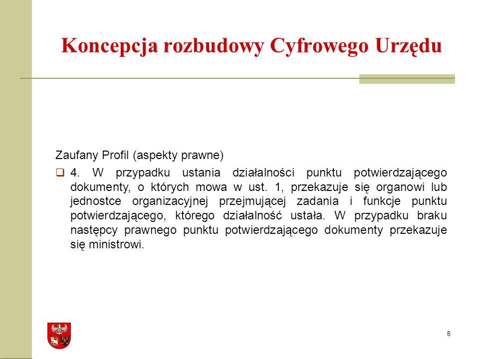 8 Koncepcja rozbudowy Cyfrowego Urzędu Zaufany Profil (aspekty prawne) 4.