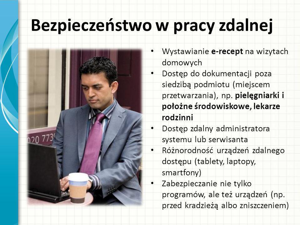 Bezpieczeństwo w pracy zdalnej Wystawianie e-recept na wizytach domowych Dostęp do dokumentacji poza siedzibą podmiotu (miejscem przetwarzania), np. p
