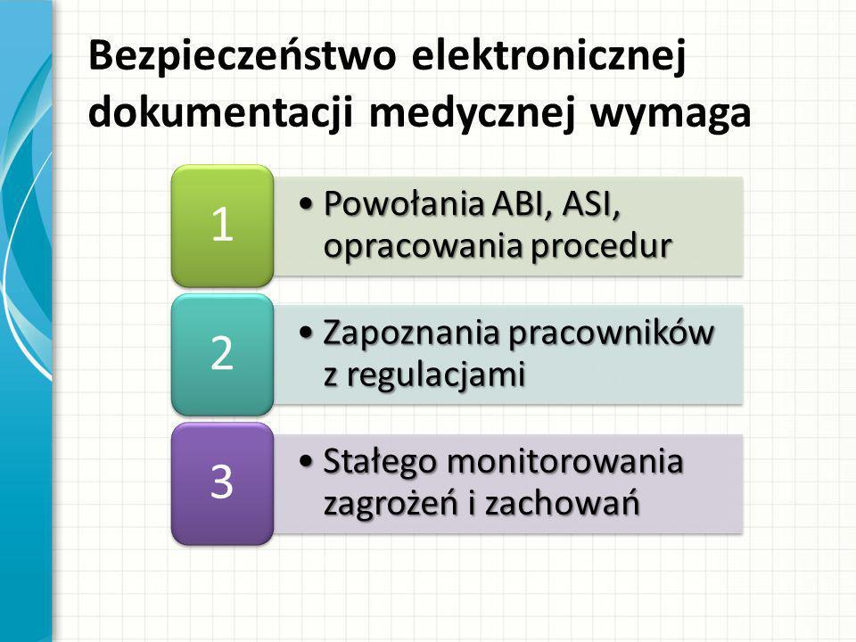 Podsumowanie Ochrona danych medycznych w środowisku elektronicznym leży w interesie podmiotu wykonującego działalność leczniczą Nie da się zapewnić bezpieczeństwa danych bez udziału pracowników Istniejące przepisy prawne zobowiązują do wprowadzenia elektronicznej dokumentacji medycznej od 1 sierpnia 2014r., ale podmiot może to zrobić dopiero wtedy, gdy wprowadzi procedury pełnego bezpieczeństwa tych danych Przetwarzanie danych wrażliwych (w tym w środowisku elektronicznym) bez zachowania środków bezpieczeństwa grozi odpowiedzialnością karną