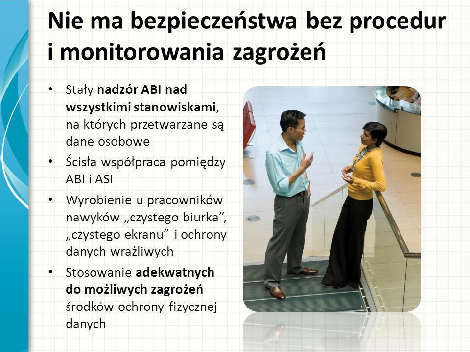 Nie ma bezpieczeństwa bez procedur i monitorowania zagrożeń Stały nadzór ABI nad wszystkimi stanowiskami, na których przetwarzane są dane osobowe Ścis