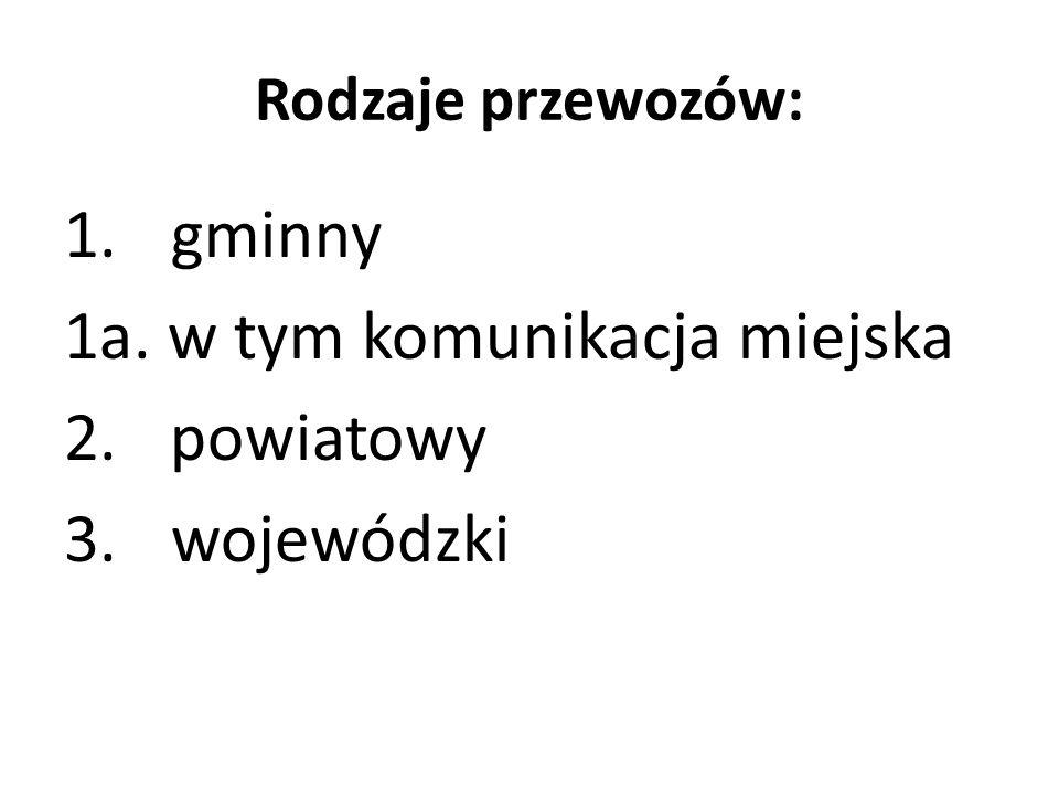 Rodzaje przewozów: 1. gminny 1a. w tym komunikacja miejska 2.powiatowy 3. wojewódzki