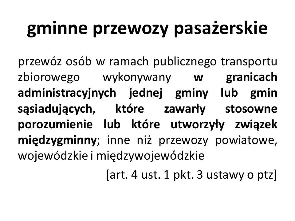 gminne przewozy pasażerskie przewóz osób w ramach publicznego transportu zbiorowego wykonywany w granicach administracyjnych jednej gminy lub gmin sąs