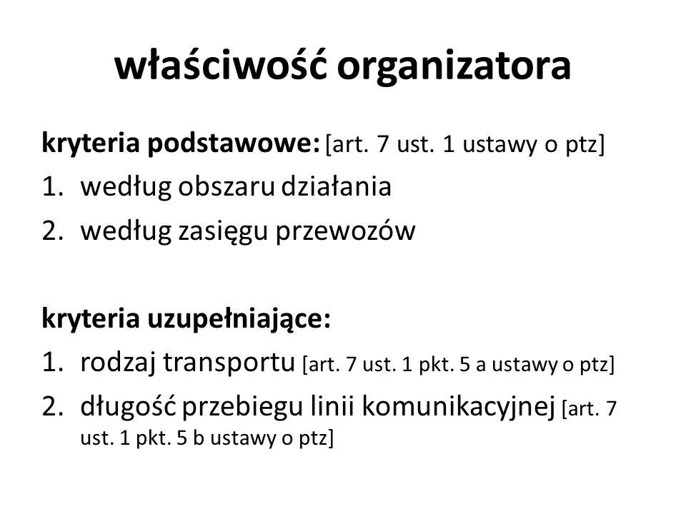 właściwość organizatora kryteria podstawowe: [art. 7 ust. 1 ustawy o ptz] 1.według obszaru działania 2.według zasięgu przewozów kryteria uzupełniające
