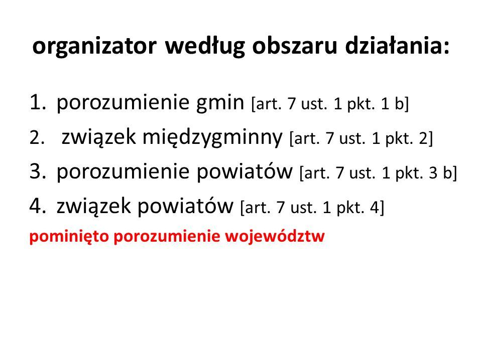 organizator według obszaru działania: 1.porozumienie gmin [art. 7 ust. 1 pkt. 1 b] 2. związek międzygminny [art. 7 ust. 1 pkt. 2] 3.porozumienie powia