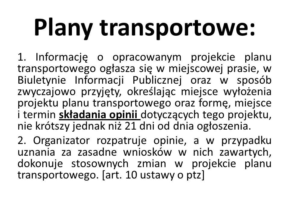 Plany transportowe: 1. Informację o opracowanym projekcie planu transportowego ogłasza się w miejscowej prasie, w Biuletynie Informacji Publicznej ora