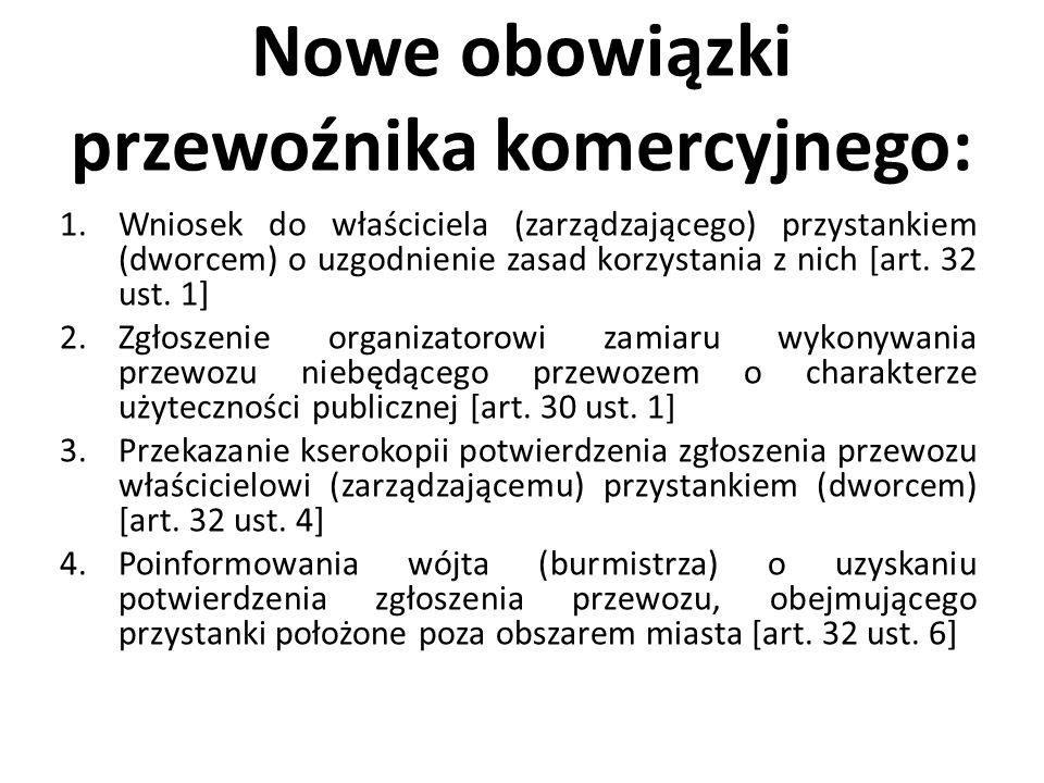 Nowe obowiązki przewoźnika komercyjnego: 1.Wniosek do właściciela (zarządzającego) przystankiem (dworcem) o uzgodnienie zasad korzystania z nich [art.