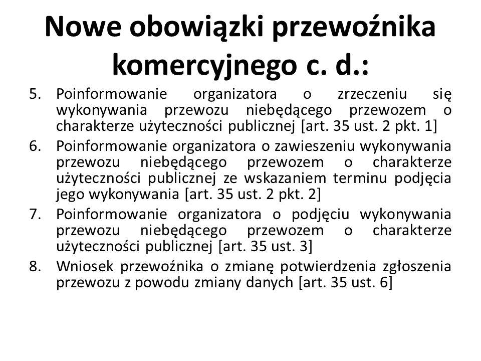 Nowe obowiązki przewoźnika komercyjnego c. d.: 5.Poinformowanie organizatora o zrzeczeniu się wykonywania przewozu niebędącego przewozem o charakterze