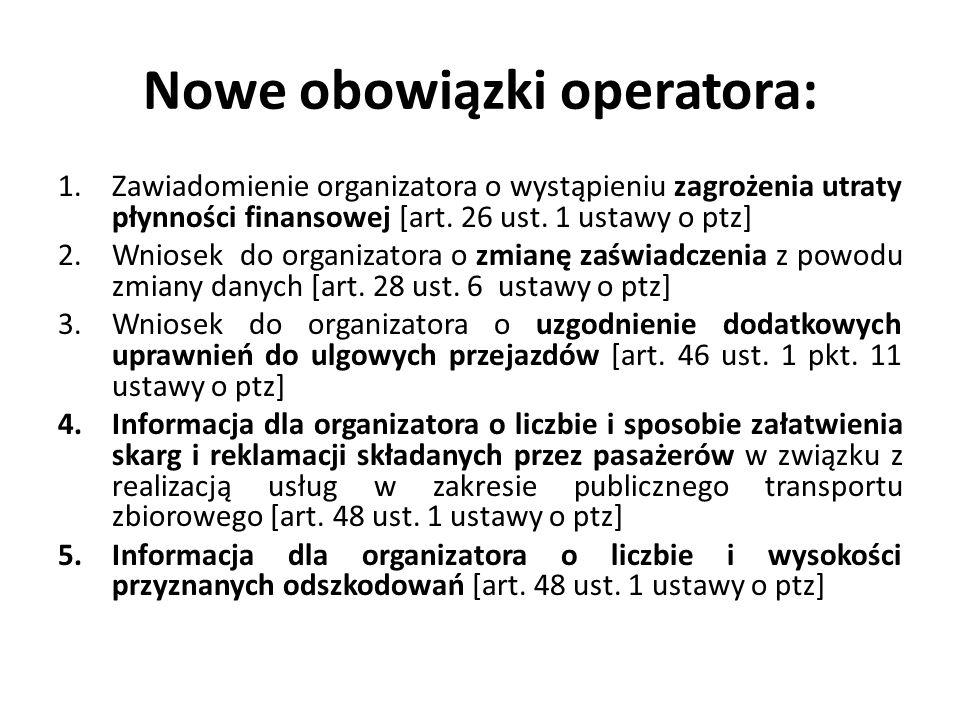Nowe obowiązki operatora: 1.Zawiadomienie organizatora o wystąpieniu zagrożenia utraty płynności finansowej [art. 26 ust. 1 ustawy o ptz] 2.Wniosek do
