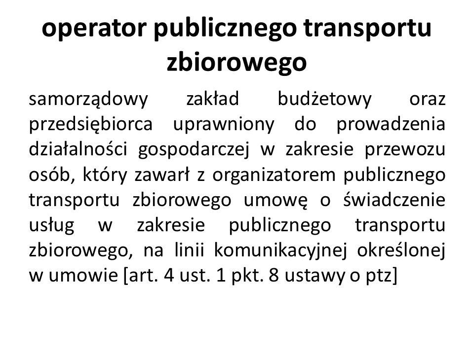 organizator publicznego transportu zbiorowego właściwa jednostka samorządu terytorialnego albo minister właściwy do spraw transportu, zapewniający funkcjonowanie publicznego transportu zbiorowego na danym obszarze [art.