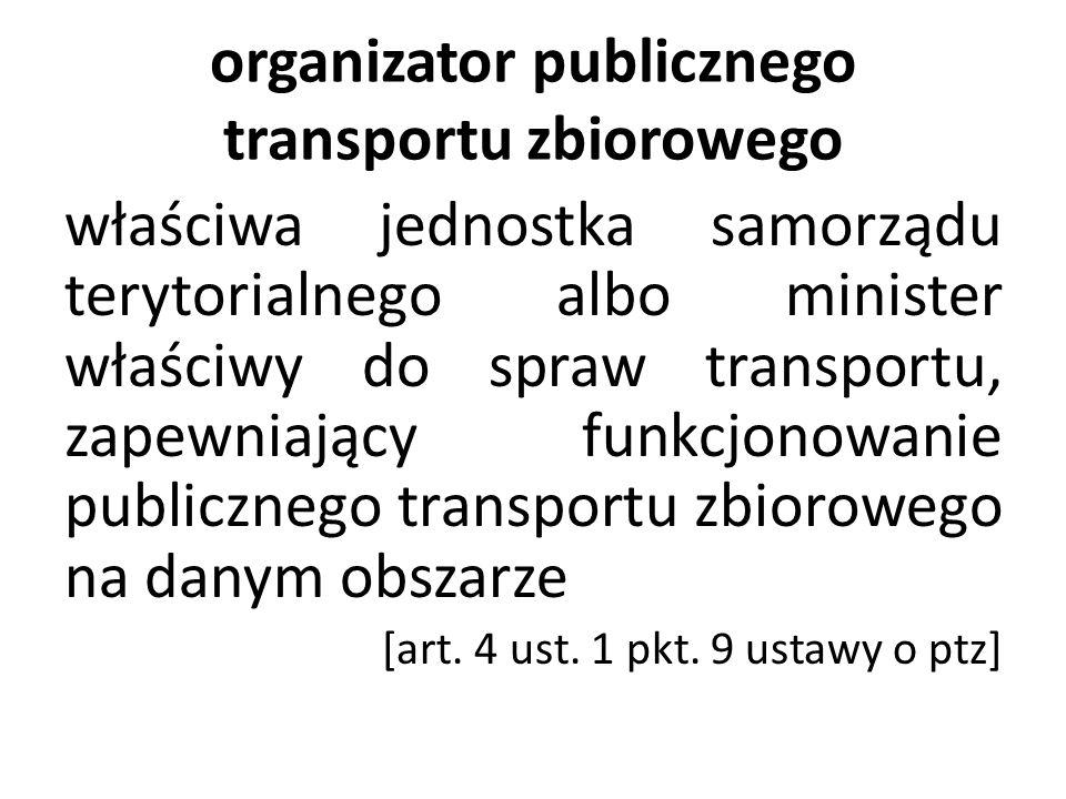 organizator publicznego transportu zbiorowego właściwa jednostka samorządu terytorialnego albo minister właściwy do spraw transportu, zapewniający fun