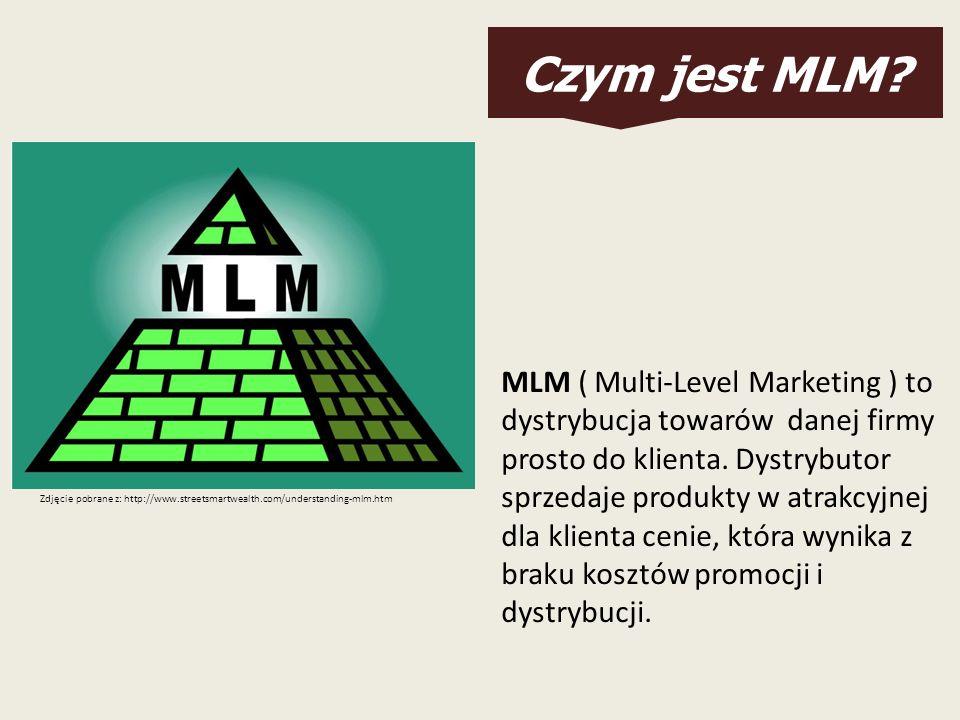 Czym jest MLM? MLM ( Multi-Level Marketing ) to dystrybucja towarów danej firmy prosto do klienta. Dystrybutor sprzedaje produkty w atrakcyjnej dla kl