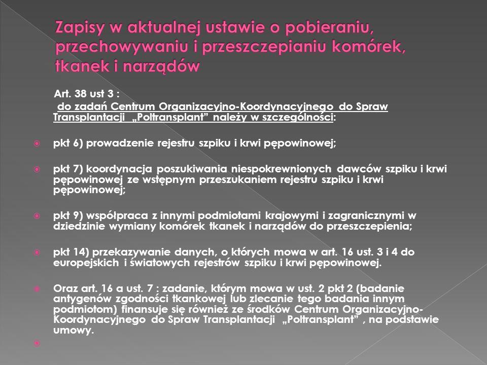 Art. 38 ust 3 : do zadań Centrum Organizacyjno-Koordynacyjnego do Spraw Transplantacji Poltransplant należy w szczególności: pkt 6) prowadzenie rejest