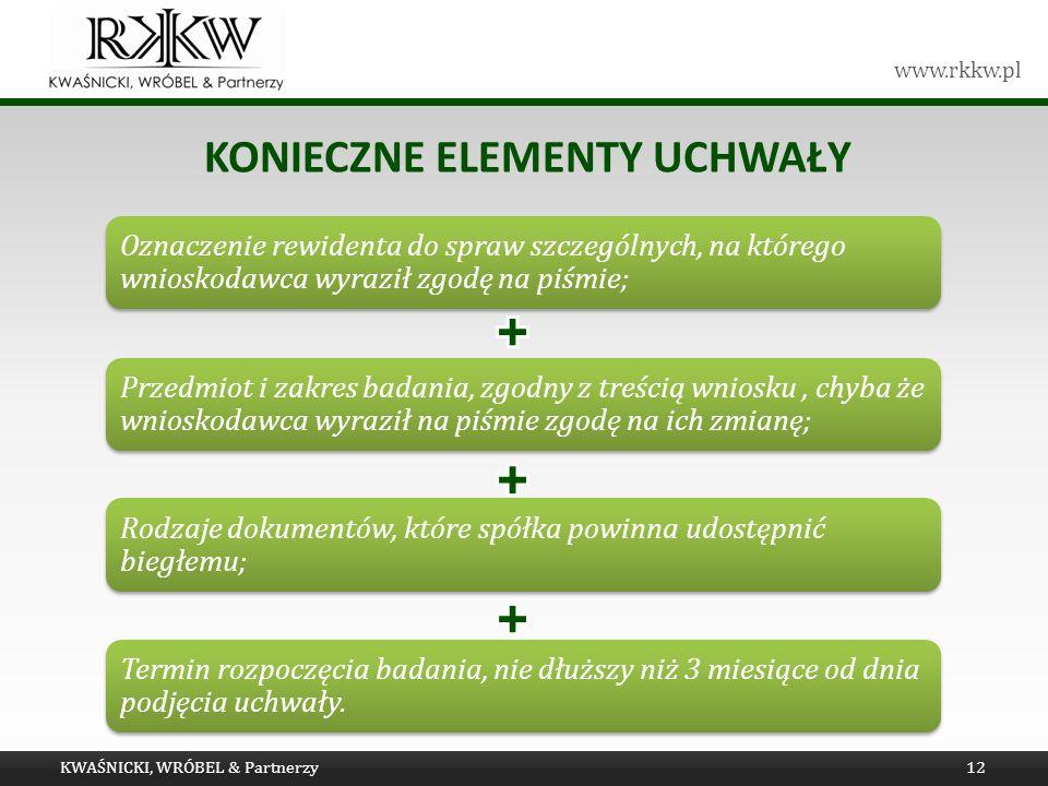 www.rkkw.pl KONIECZNE ELEMENTY UCHWAŁY KWAŚNICKI, WRÓBEL & Partnerzy12
