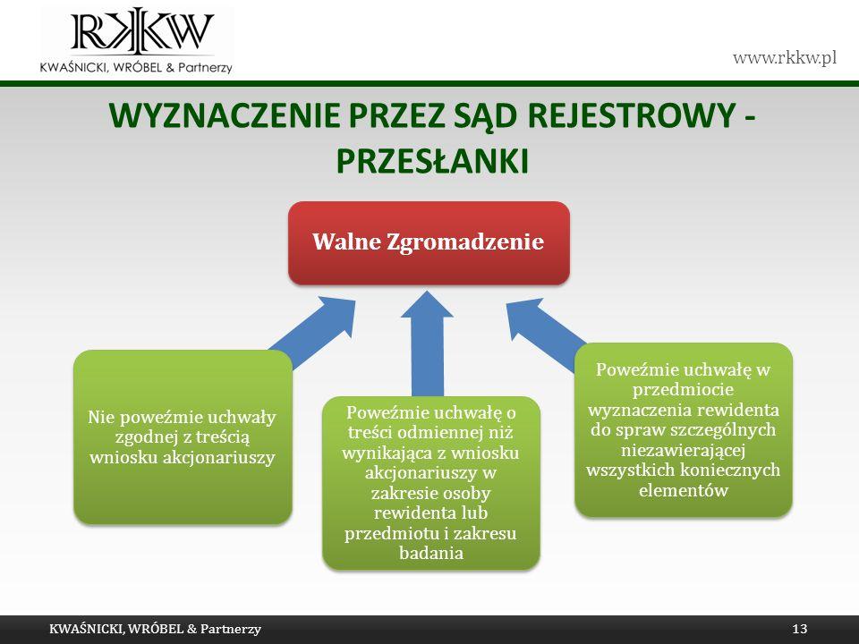 www.rkkw.pl WYZNACZENIE PRZEZ SĄD REJESTROWY - PRZESŁANKI KWAŚNICKI, WRÓBEL & Partnerzy13